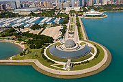 Aerial drone image of the Adler Planetarium and the Chicago Skyline.<br /> Photo by Mark Black