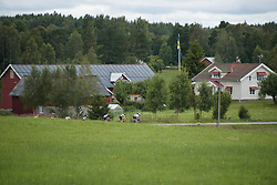 Leaders sweep through the Swedish countryside at the Crescent Vargarda - a 152 km road race, starting and finishing in Vargarda on August 13, 2017, in Vastra Gotaland, Sweden. (Photo by Sean Robinson/Velofocus.com)