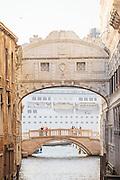Cruise ship passing Bridge of Sighs.Venice, Italy, Europe