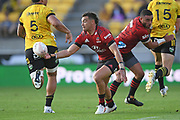 Crusaders David Havili knocks on an intercept in the Super Rugby match, Hurricanes v Crusaders, Sky Stadium, Wellington, Sunday, April 11, 2021. Copyright photo: Kerry Marshall / www.photosport.nz
