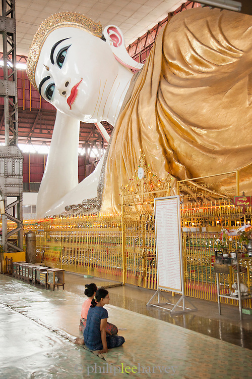 A massive reclining buddha in Chaukhtatgyi Temple, Yangon (Rangoon), Myanmar