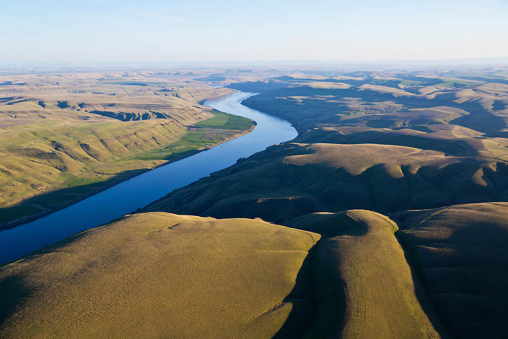 Aerial view of farmland along the Snake River just before it joins the Columbia River at Tri-Cities, Washington.<br /> (Kennewick, Pasco, and Richland) Licensing - Open Edition Prints