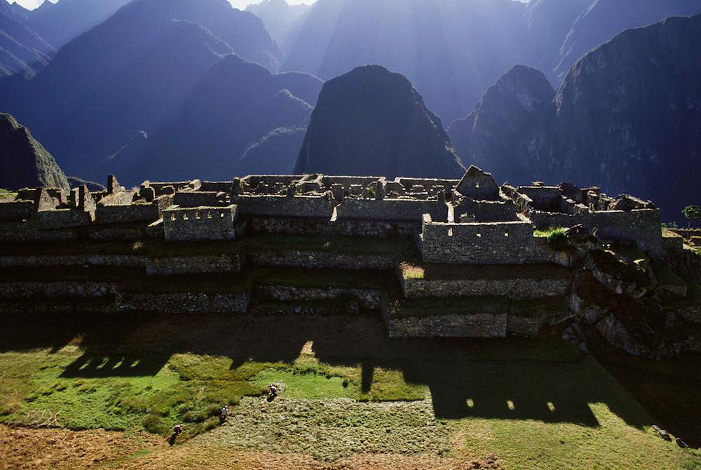 Inca ruins at Machu Picchu, Peru.