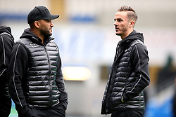 Leicester City's Danny Simpson (left) and James Maddison inspect the pitch before the match