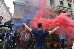 May 16, 2018 - Lyon, France - Supporters marseillais dans cafe de Lyon place Bellecour (Credit Image: © Panoramic via ZUMA Press)