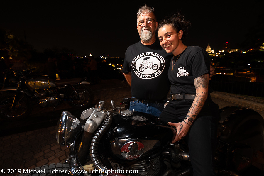 Madhouse Motors J Shia with her Dad and her 1957 custom Royal Enfield Indian (Royal Enfield imported and rebadged as Indians after the Springfield factory was closed in 1953) bobber built out of J's Boston shop. The Handbuilt Show pre-party, Austin, TX. Thursday, April 11, 2019. Photography ©2019 Michael Lichter.