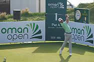 Adrian Meronk (POL) on the 1st during Round 4 of the Oman Open 2020 at the Al Mouj Golf Club, Muscat, Oman . 01/03/2020<br /> Picture: Golffile   Thos Caffrey<br /> <br /> <br /> All photo usage must carry mandatory copyright credit (© Golffile   Thos Caffrey)