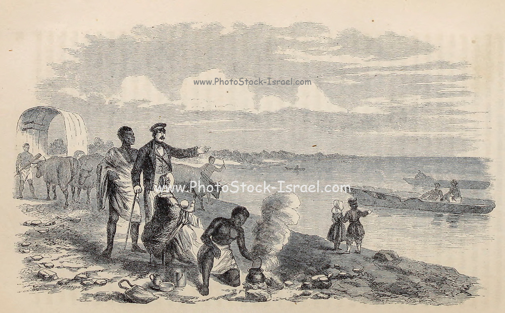 Lake Ngami [Botswana], discovered by Oswell, Murray, and Livingstone From the Book ' Missionary travels and researches in South Africa ' including Sixteen Years Residence in the Interior of Africa. by Dr. David Livingstone Published in New York by Harper & Brothers 1858