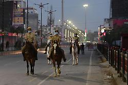 April 19, 2020, Prayagraj, Uttar Pradesh, India: Police patrol on horses during a nationwide lockdown imposed as a preventive measure against the spread of the COVID-19 coronavirus. (Credit Image: © Prabhat Kumar Verma/ZUMA Wire)