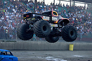 .MONSTER TRUCK_Black Smith competing at the Monster Truck Challenge at the Orange County (NY) Fair Speedway.