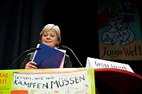 08 JAN 2011, BERLIN/GERMANY:<br /> Gesine Loetzsch, Die Linke Parteivorsitzende, haelt eine Rede, 16. Internationale Rosa-Luxenburg-Konferenz, Urania Haus<br /> IMAGE: 20110108-01-028<br /> KEYWORDS: Kommunismus, Gesine Lötzsch