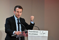 """Founder and president of the political movement """"En Marche !"""" Emmanuel Macron speaks during a meeting gathering the movement's local leaders on November 5, 2016 in Paris, France. Photo by Francois Pauletto/ABACAPRESS.COM"""