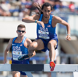 August 12, 2018 - Toronto, ON, U.S. - TORONTO, ON - AUGUST 12: Jordan Mann (USA), bronze 3000m steeple chase at the 2018 North America, Central America, and Caribbean Athletics Association (NACAC) Track and Field Championships on August 12, 2018 held at Varsity Stadium, Toronto, Canada. (Photo by Sean Burges / Icon Sportswire) (Credit Image: © Sean Burges/Icon SMI via ZUMA Press)