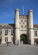 Gatehouse tower entrance to Bishop's Palace, Wells, Somerset, England