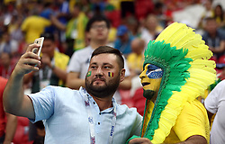 Brazil fans take a selfie before the game