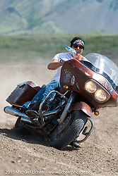 Jay Allen on the dirt track at the Broken Spoke Campground during the 75th Annual Sturgis Black Hills Motorcycle Rally.  SD, USA.  August 6, 2015.  Photography ©2015 Michael Lichter.