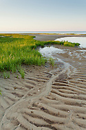 Low tide exposes interesting textures in the sand on Wing Island in Brewster.