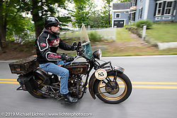Jason Wadzinski riding his 1924 Indian in the Motorcycle Cannonball coast to coast vintage run. Stage-1 (145-miles) from Portland, Maine to Keene, NH. Saturday September 8, 2018. Photography ©2018 Michael Lichter.