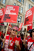 Pride in London, formally known as Pride London, is an annual LGBT pride festival and parade held each summer in London, United Kingdom. A group from Stonewall take part in the parade. A woman holds a placard saying Some people are lesbians. Get over it.