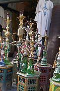 Arabic bazar shop selling kitchen utensils and water pipes on Place Meynard Saint Micel. Bordeaux city, Aquitaine, Gironde, France