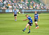 Rugby Union - 2020 / 2021 Gallagher Premiership - Round 22 - Bath vs Northampton Saints - Recreation Ground<br /> <br /> Bath Rugby's Rhys Priestland kicks a penalty.<br /> <br /> COLORSPORT/ASHLEY WESTERN