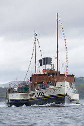 The third days racing at the  Silvers Marine Scottish Series 2015, organised by the  Clyde Cruising Club<br /> Based at Tarbert,  Loch Fyne from 22rd-24th May 2015<br /> <br /> Paddle Steamer Waverley heading for Tarbert<br /> <br /> <br /> Credit : Marc Turner / CCC<br /> For further information contact<br /> Iain Hurrel<br /> Mobile : 07766 116451<br /> Email : info@marine.blast.com<br /> <br /> For a full list of Silvers Marine Scottish Series sponsors visit http://www.clyde.org/scottish-series/sponsors/