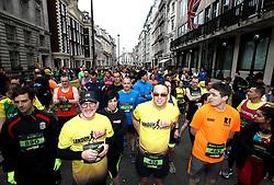 Runners wait to start the 2018 London Landmarks Half Marathon. PRESS ASSOCIATION Photo. Picture date: Sunday March 25, 2018. Photo credit should read: John Walton/PA Wire
