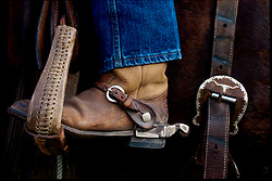 Brown leather cowboy boot sitting in a horse saddle stirrup