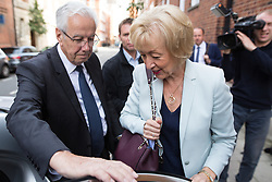 © Licensed to London News Pictures . 07/07/2016 . London , UK . Conservative Party leadership candidate ANDREA LEADSOM leaves her home in Westminster this morning (Thursday 7th July 2016) . Photo credit : Joel Goodman/LNP