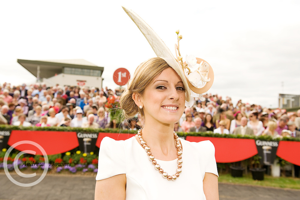 Sporting a hat designed by Galway milliner Edel Ramburg, Sieglinde Mullers from Moycullen, Co. Galway was the winner of the Anthony Ryan's Best Hat Competition.Photo:Andrew Downes