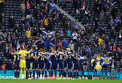 Scotland fans in the stands as players line up ahead of the UEFA Euro 2020 Group D match at Hampden Park, Glasgow. Picture date: Monday June 14, 2021.