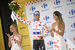 July 28, 2018 - Espelette, FRANCE - French Julian Alaphilippe of Quick-Step Floors celebrates on the podium in the red polka-dot jersey for best climber after the 20th stage of the 105th edition of the Tour de France cycling race, a 31km individual time trial from Saint-Pee-sur-Nivelle to Espelette, France, Saturday 28 July 2018. This year's Tour de France takes place from July 7th to July 29th. BELGA PHOTO YORICK JANSENS (Credit Image: © Yorick Jansens/Belga via ZUMA Press)