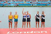 Eton Dorney, Windsor, Great Britain,..2012 London Olympic Regatta, Dorney Lake. Eton Rowing Centre, Berkshire[ Rowing]...Description;   Women's Pair, medals presentation  .Gold Medalist and Centre. GBR W2- Helen GLOVER (b) , Heather STANNING (s).Silver Medalist and Left. AUS.W2- Kate HORNSEY (b) , Sarah TAIT (s).Bronze Medalist and right.  NZL W2- Juliette HAIGH (b) , Rebecca SCOWN (s)  Dorney Lake. 12:23:16  Wednesday  01/08/2012.  [Mandatory Credit: Peter Spurrier/Intersport Images].Dorney Lake, Eton, Great Britain...Venue, Rowing, 2012 London Olympic Regatta...