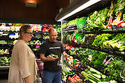 Organic produce in supermarket in the afflent town of Portola Valley, California