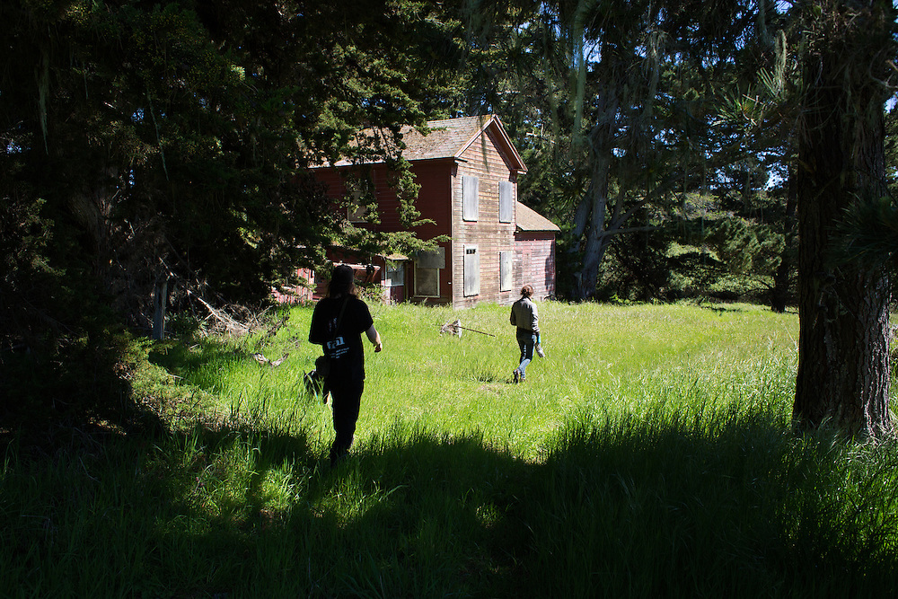 Nate Howard and his friend Sara Earheart explore abandoned buildings in Manchester, CA.