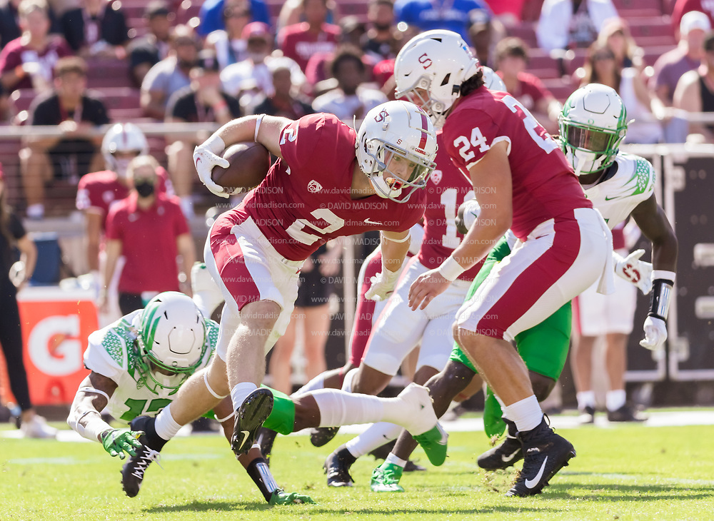 PALO ALTO, CA - OCTOBER 2:  Casey Filkins #2 of the Stanford Cardinal runs back a kick during an NCAA Pac-12 college football game against the Oregon Ducks on October 2, 2021 at Stanford Stadium in Palo Alto, California.  (Photo by David Madison/Getty Images)