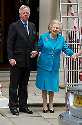 Margaret Thatcher on her 86th birthday with her son Mark  on their way to a birthday lunch in London, Thursday, 13th October 2011. Photo by: i-Images