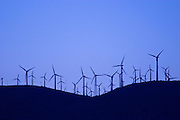 Wind turbines at the Tehachapi Wind Farm (2nd largest in the world) at sunset, Tehachapi Mountains, California USA