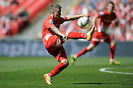 Leyton Orient's Dean Cox controlling the ball in mid-air . Skybet football league one play off final match , Leyton Orient  v Rotherham Utd at Wembley Stadium in  London on Sunday 25th May 2014.<br /> pic by John Patrick Fletcher, Andrew Orchard sports photography.
