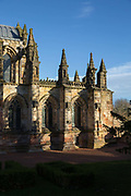 The Rosslyn Chapel on the 10th November 2018 in the village of Roslin, Scotland in the United Kingdom. Rosslyn Chapel, formally known as the Collegiate Chapel of St Matthew, is a 15th-century chapel located in the village of Roslin, Midlothian. The Rosslyn Chapel was founded on a small hill above Roslin Glen as a Catholic collegiate church in the mid-15th century.
