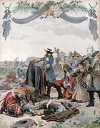 Henri, Vicomte de Turenne (1611-75) French soldier.  Officers of his army lamenting over his body after his death reconnoitring at Sasbach. Illustration by  Maurice Leloir (1851-1940) French painter and book illustrator. Chromolithograph.