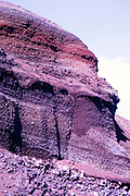 Layers of volcanic rocks in cross section of cliff, Lanzarote, Canary Islands, Spain 1979