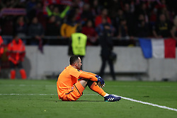 May 3, 2018 - Madrid, Spain - DAVID OSPINA of Arsenal FC looks dejected after defeat during the UEFA Europa League, semi final, 2nd leg football match between Atletico de Madrid and Arsenal FC on May 3, 2018 at Metropolitano stadium in Madrid, Spain (Credit Image: © Manuel Blondeau via ZUMA Wire)