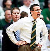 SHOT 1/28/12 3:30:57 PM - Colorado State University head basketball coach Tim Miles questions a call by an official during their regular season Mountain West conference game against San Diego State at Moby Arena in Fort Collins, Co. Colorado State upset 12th ranked San Diego State 77-60. (Photo by Marc Piscotty / © 2012)