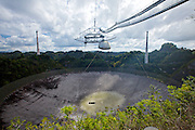 Wide view of the National Astronomy and Ionosphere Center Arecibo Observatory home of the largest radio telescope on Earth February 20, 2013 in Arecibo, Puerto Rico.