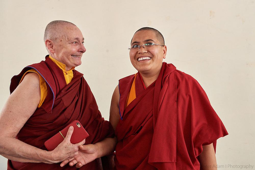 Jetsunma Tenzin Palmo with Tenzin Lhadron one of the Geshemas