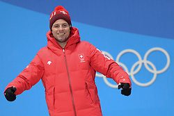 February 15, 2018 - Pyeongchang, South Korea - BEAT FEUZ of Switzerland celebrates getting the bronze medal in the Men's downhill event in the PyeongChang Olympic games. (Credit Image: © Christopher Levy via ZUMA Wire)
