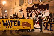 GREEN DEMONSTRATORS FROM THE INDIGENOUS ENVIRONMENTAL NETWORK OUTSIDE Oklahoma(State(Society( Inaugural(Gala, KIpton Monaco Hotel, Washington DC. 19 January 2017