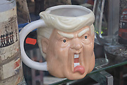 Donald Trump toby jug giving his trademark scream on 28th January 2021 in London, United Kingdom. A Toby Jug, also sometimes known as a Fillpot or Philpot, is a pottery jug in the form of a seated person, or the head of a recognizable person, often an English king. Typically the seated figure is a heavy-set, jovial man wearing 18th-century attire.