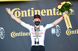 Soren KRAGH ANDERSEN (DEN) pictured celebrating on the podium after winning stage 19 of Tour de France cycling race, over 166,5 kilometers (103.4 miles) with start in Bourg-en-Bresse and finish in Champagnole, France,Friday, September 18, 2020.//JEEPVIDON_1615009/2009191625/Credit:jeep.vidon/SIPA/2009191634 / Sportida